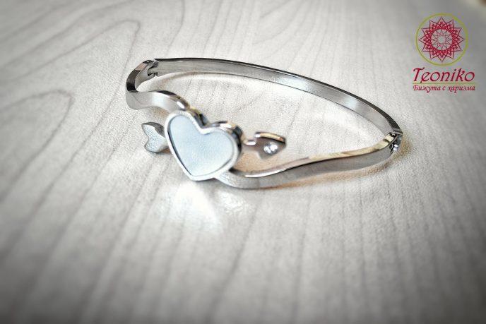 гривна от стомана Сърце от седеф