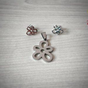комплект от стомана цвете - висулка и обеци с винт