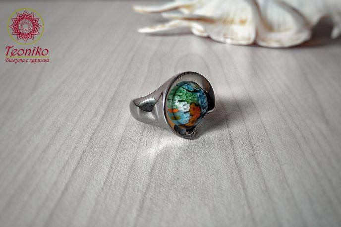 Пръстен от стомана и стъкло Мурано