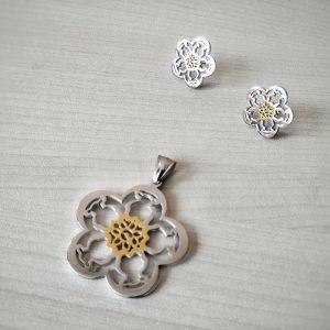 Комплект от стомана Цвете в златисто и сребристо