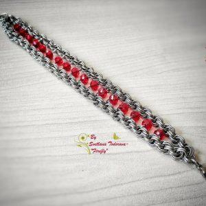 Ефектна ръчно изработена гривна Огнена Страст - невероятна комбинация между хладна стомана и огнено-червени мъниста