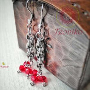 Стилни обеци Огнена Страст - комбинация между хладна стомана и огнено-червени кристали