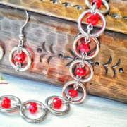 Комплект от стомана Sweet Cherry – ръчно изработени гривна и обеци