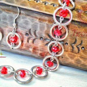 Ръчно изработен комплект от стомана Sweet Cherry - обеци и гривна от неръждаема стомана и червени мъниста