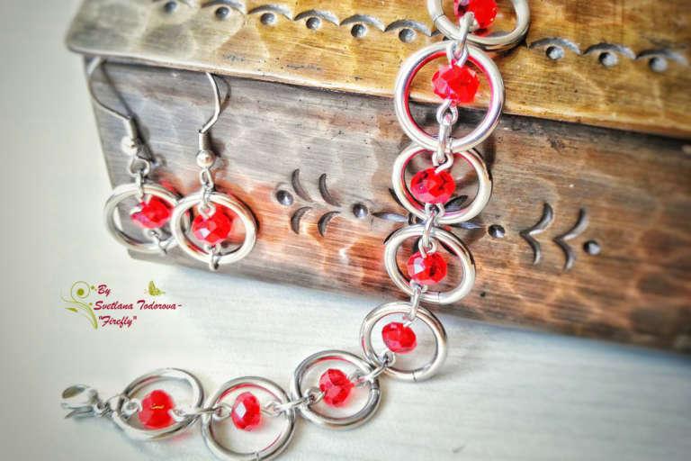 Ръчно изработен комплект Sweet Cherry - обеци и гривна от неръждаема стомана и червени мъниста