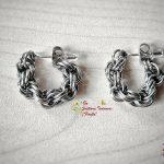 Двойна спирала - Ръчно изработени обеци тип халки от стомана