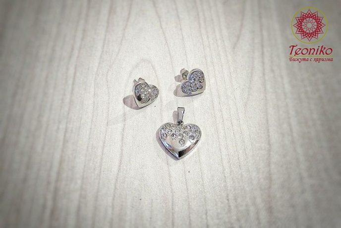 Комплект от медицинска стомана Искрящо сърце