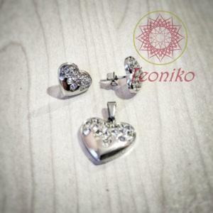 Стилен и изящен комплект от стомана Искрящо сърце - обеци и висулка