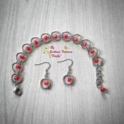 Ръчно изработен комплект от стомана Бургундско червено – гривна и обеци