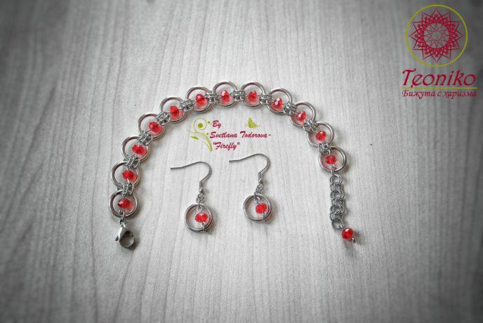 Шикозен ръчно изработен комплект от стомана Бургундско червено - гривна и обеци