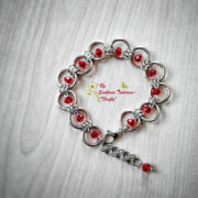 Ръчно изработен комплект от стомана Бургундско червено – гривна