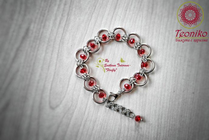 Шикозен ръчно изработен комплект от стомана Бургундско червено - гривна
