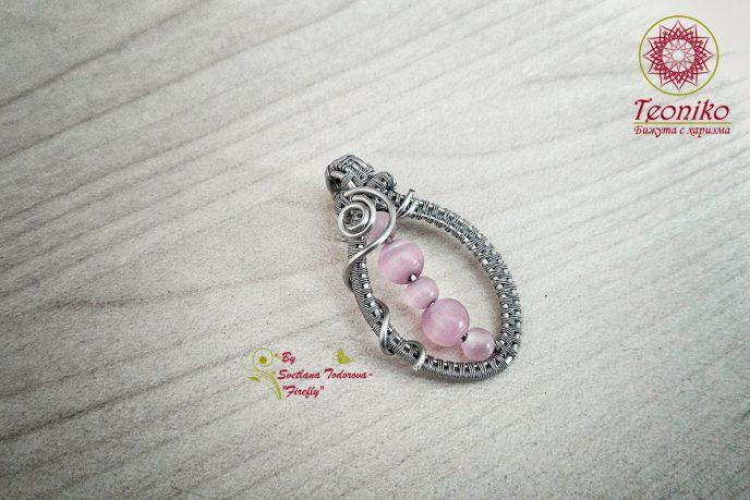 ръчно изработена висулка Розово опиянение