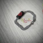 Ръчно изработена гривна от стомана и японски мъниста Тохо - Сърце