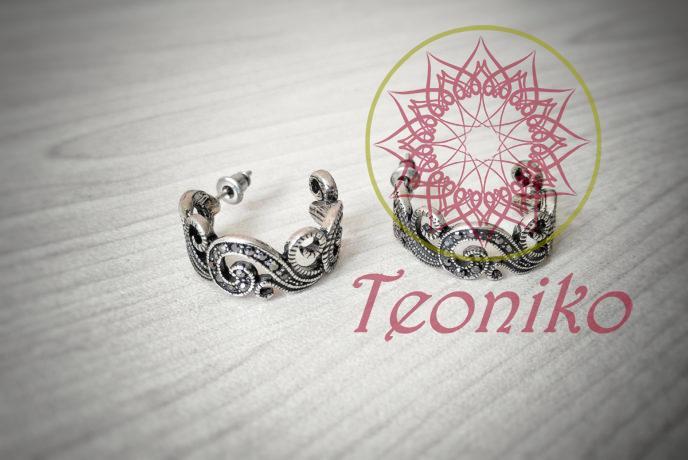 Елегантни обеци от стомана с флорални орнаменти и чешки кристали