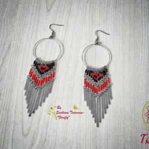 Ръчно изработени обеци от стомана и японски мъниста Тохо - Сърце