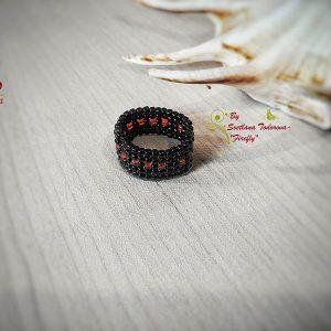 Ръчно изработен пръстен Капчици червено