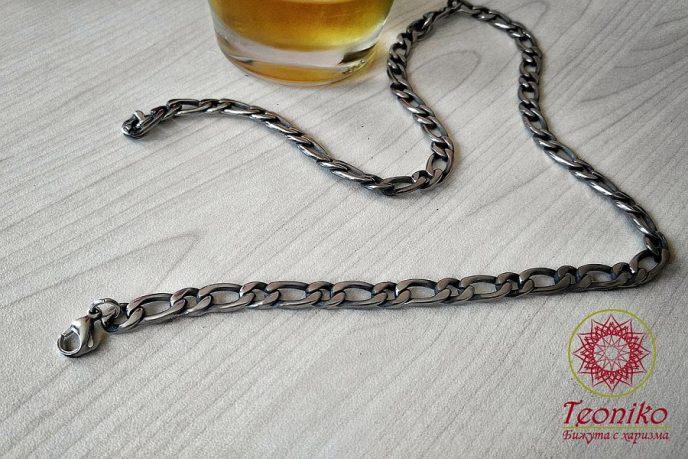 Мъжки стоманен ланец Фигаро
