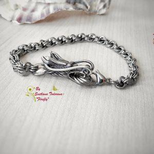 Ръчно изработена гривна Дракон - Мъжка гривна от стомана с елемент дракон