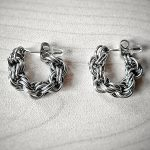 Двойна спирала – Ръчно изработени обеци тип халки от стомана