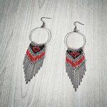 Ръчно изработени обеци от стомана и японски мъниста Тохо – Сърце