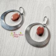 Ръчно изработени обеци от стомана и кафяв авантюрин Слънчеви зайчета