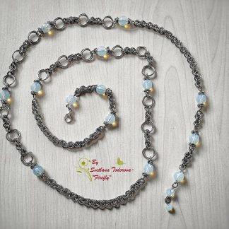 Ръчно изработен колан от стомана и лунен камък Лунна Соната