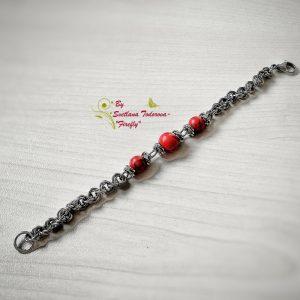 Ръчно изработена гривна от стомана и червен тюркоаз Тюркоазена соната