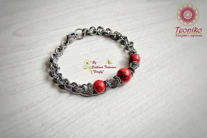 Ръчно изработена гривна от стомана и червен хуалит Червена соната