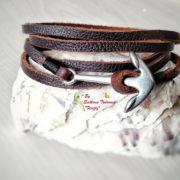 Ръчно изработена гривна от естествена кожа и стомана с котва