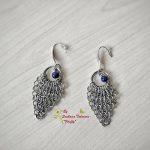 Ръчно изработени обеци от стомана Романс с тъмносин авантюрин