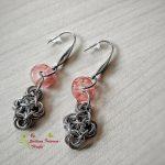Ръчно изработени обеци от стомана Изящество в розово