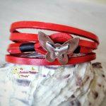 Ръчно изработена гривна от естествена кожа Пеперуда