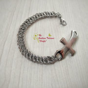 Ръчно изработена мъжка стоманена гривна Кръст