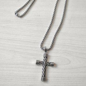 мъжко колие с Кръст от стомана