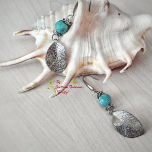 Ръчно изработени обеци от стомана и тюркоаз Лазурен бряг