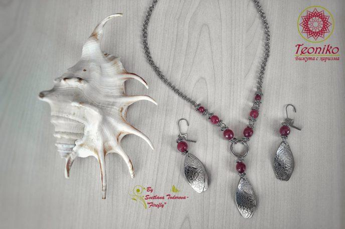 Ръчно изработени обеци Пурпурно привличане