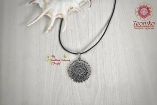 Ръчно изработен медальон от стомана Мандала
