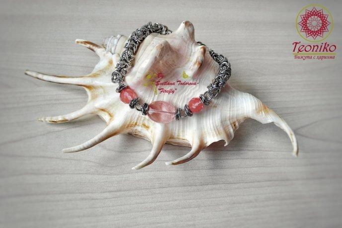 Ръчно изработена гривна Мечтание с черешов кварц