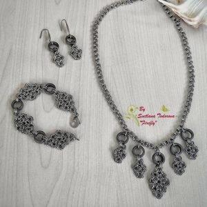 Ръчно изработен комплект от стомана и хематит Тракийска царица