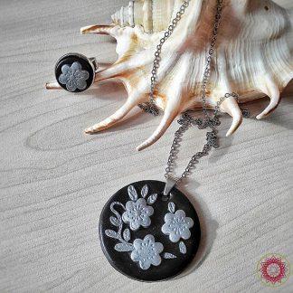 Ръчно изработен комплект Сребърни цветя