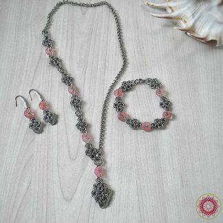 Ръчно изработен комплект Изящество в розово