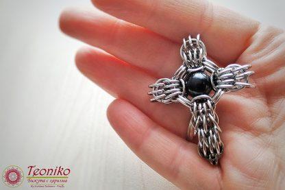 Ръчно изработен кръст от стомана с черен турмалин Гавриил