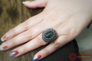 Ръчно изработен пръстен от стомана и лабрадорит Отблясъци