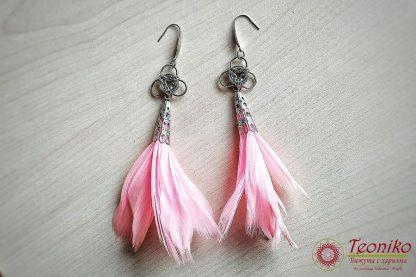 Ръчно изработени обеци Пеперудена душа в розово