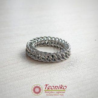 Ръчно изработен пръстен от стомана Бохем