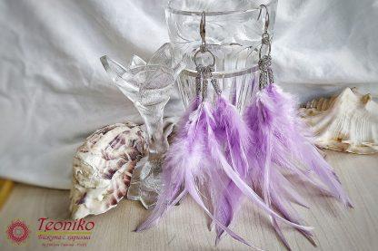 Ръчно изработени обеци Ловци на сънища в лилаво