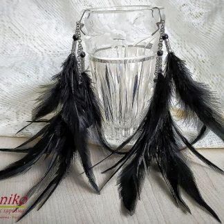 Ръчно изработени обеци с пера Полет в черно